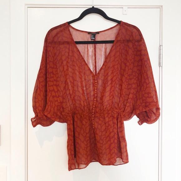 silky puff-sleeve blouse sz M